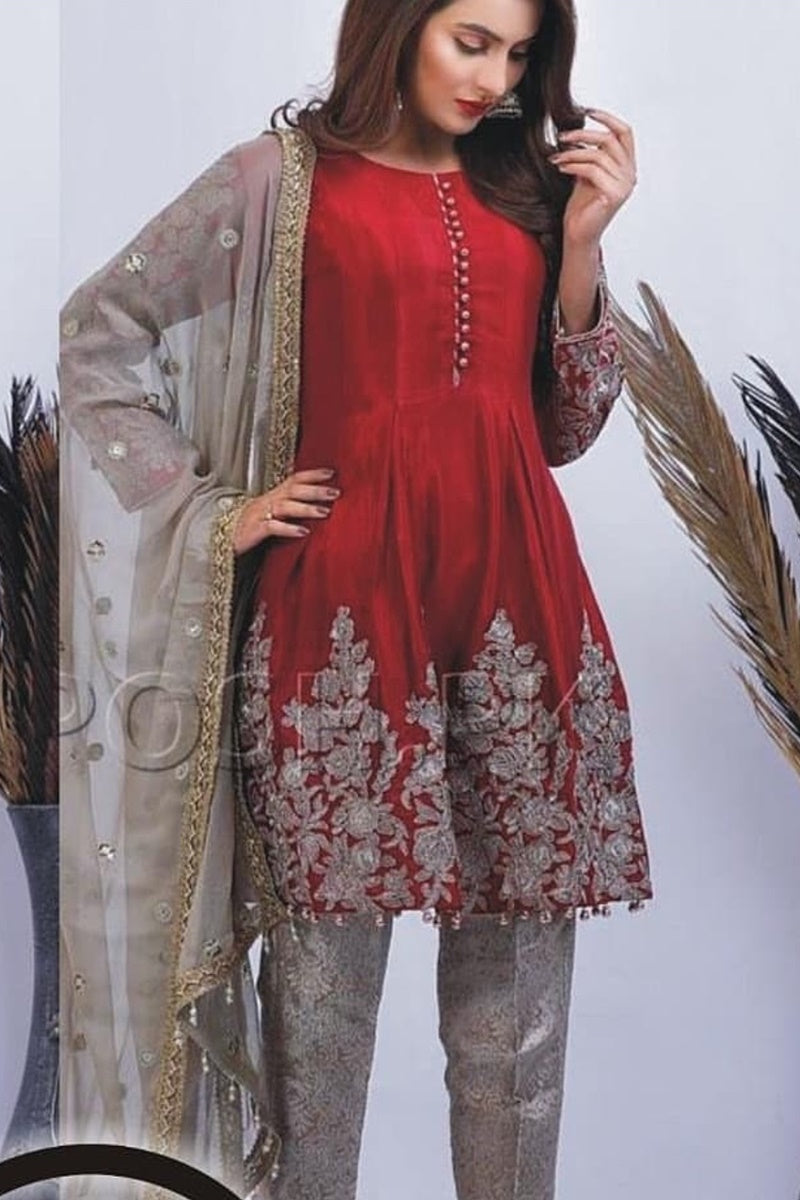 Zainab Chottani ZC-43 Red Embroidered Velvet Three piece Winter Collection