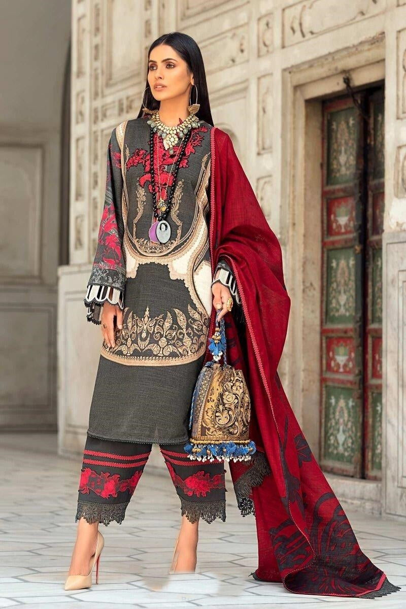 Sana Safinaz SS-6 Black  Embroidered Three Piece Lawn Collection
