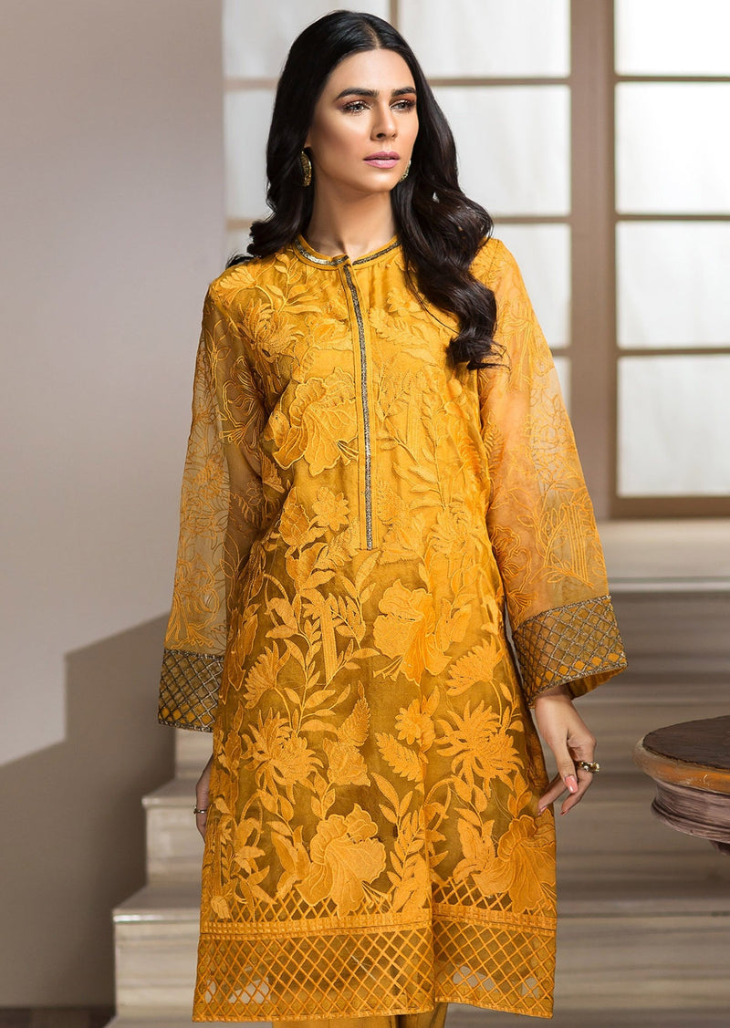 Limelight LT-Yellow  Embroidered Organza Two Piece Collection
