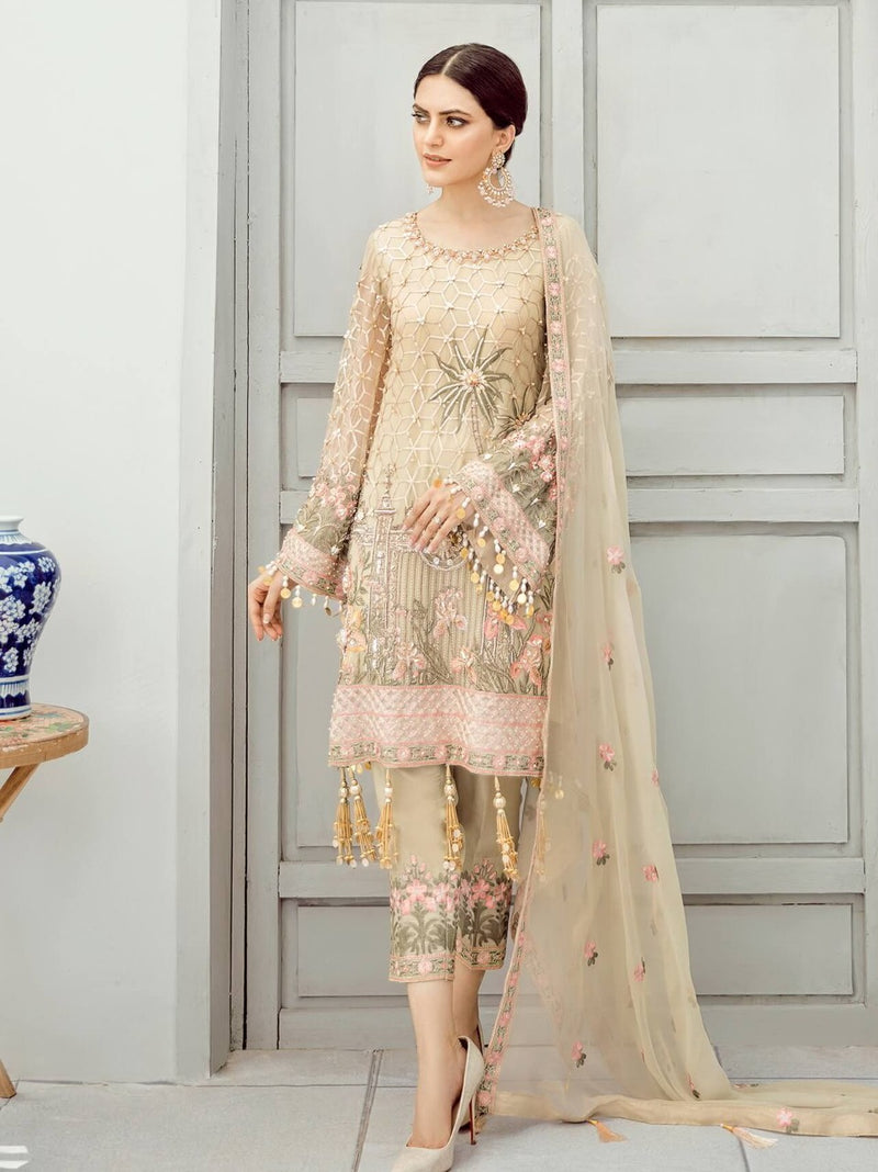 Akbar Aslam AA-01 Unstitched Chiffon Collection Embroidered ThreePiece