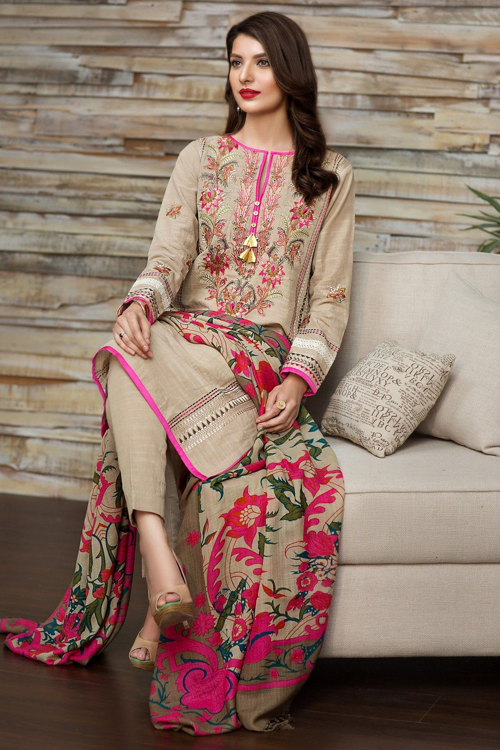 Khaadi 16701 Skin Khaddar Embroidered three piece With pashmina Shawl