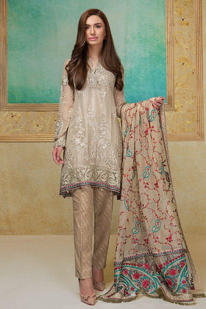 Maria B BDS-1403 Beige Unstitched Pure Chiffon Collection Embroidered Two Piece