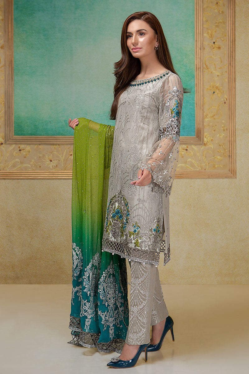 Maria B BDS-1406 Unstitched Pure Chiffon Collection Embroidered Two Piece