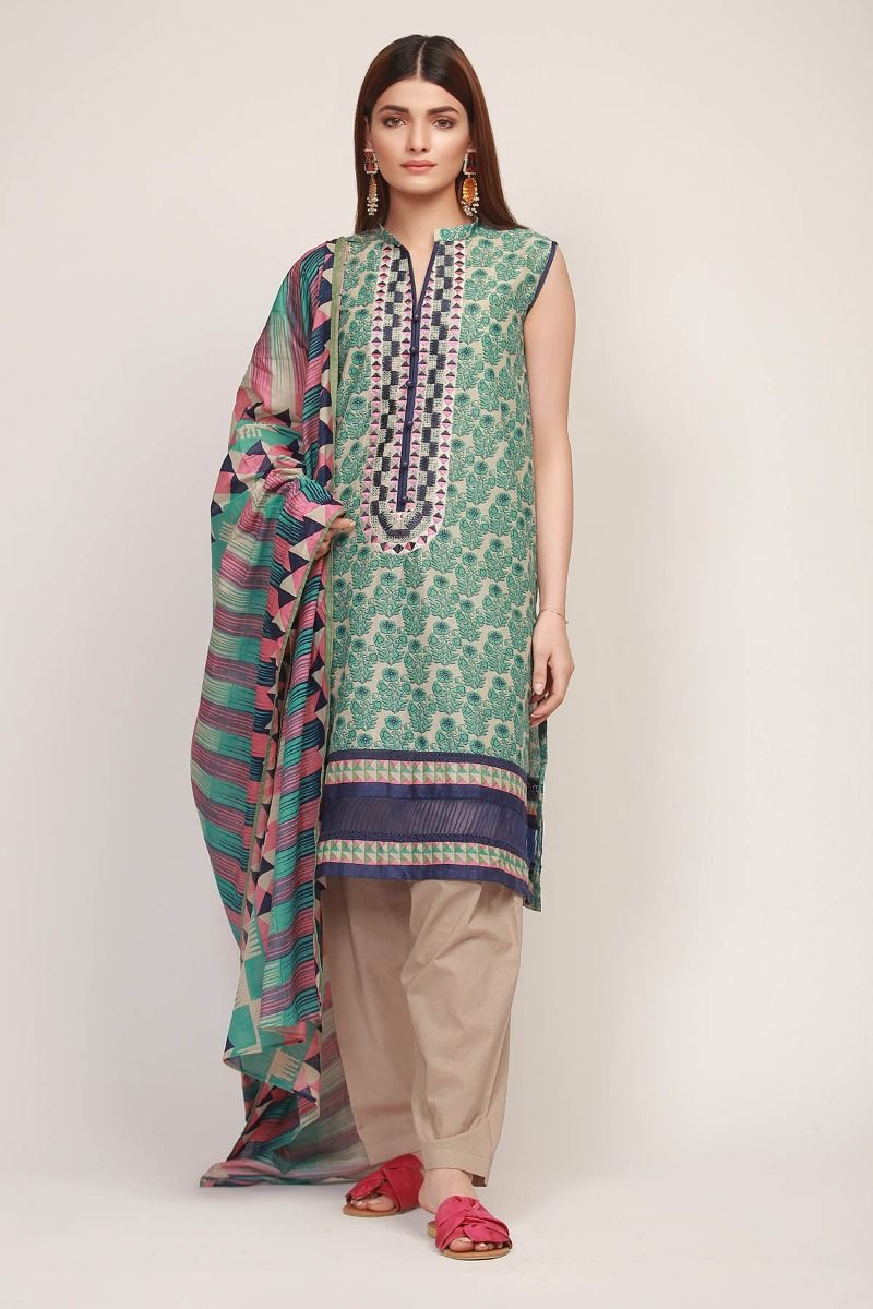 Khaadi 19112 Green Embroidered Three Piece Lawn Collection
