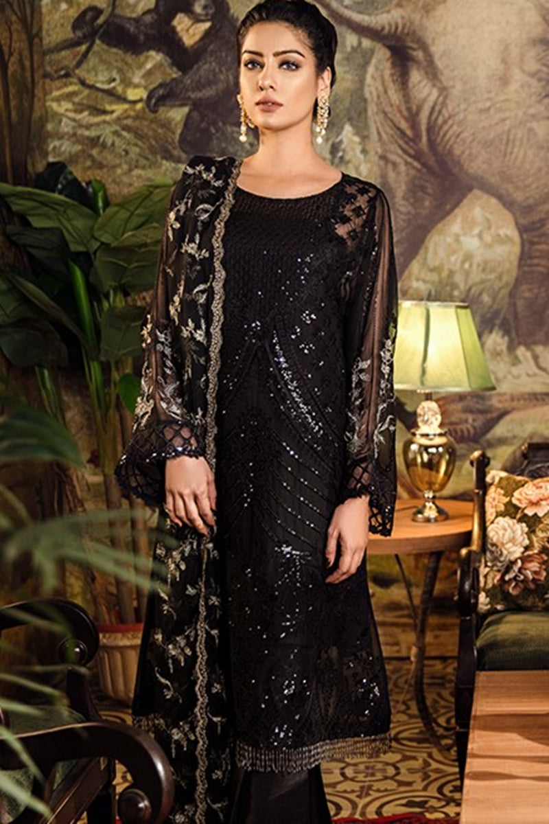 Iznik Starry Night Embroidered Chiffon dress wedding collection