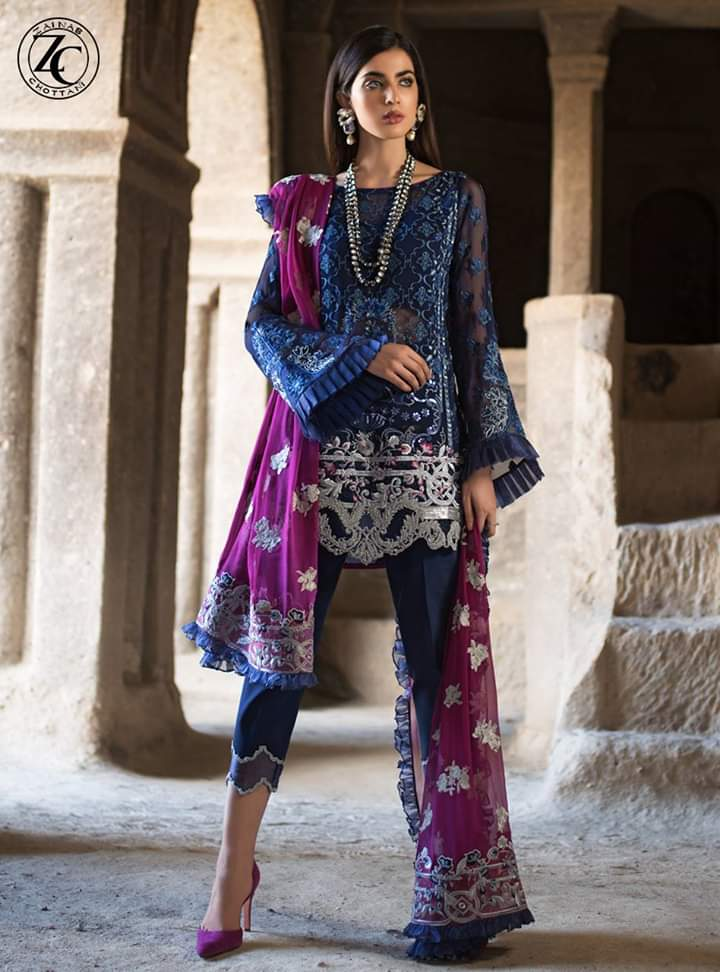 zainab chottani ZC-09 Unstitched Pure Chiffon Collection Embroidered Two Piece