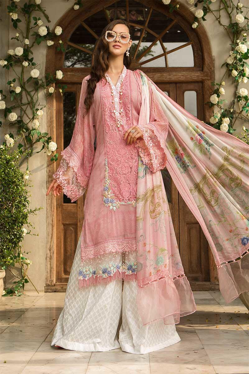 Maria B D-606 Pink  Embroidered Three Piece Lawn Collection