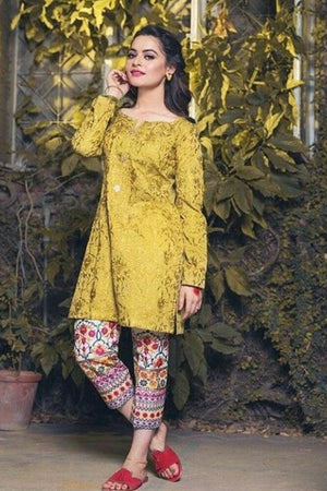 Maria B BR-1990 Yellow Lawn Collection Embroidered two piece