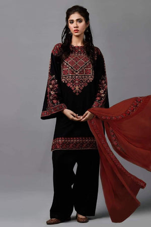 Kayseria KR-01 Black Embroidered Linen Three piece Winter Collection