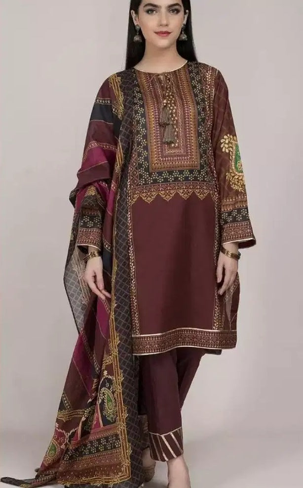 Kayseria KR-586 Brown Linen three piece suit with Woolen duppata