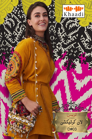 Khaadi NK 08 Musturd Lawn Embroidered two piece Summer Collection