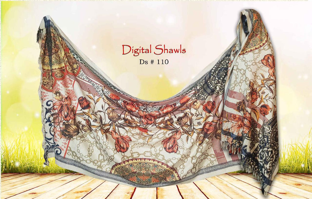 FCC  D-110 Digital Printed Chine Velvet Shawl Winter Collection