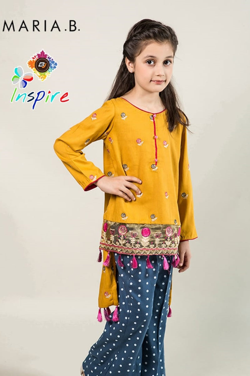 Maria B D-264 Yellow Kids Wear Linen Embroidered two piece
