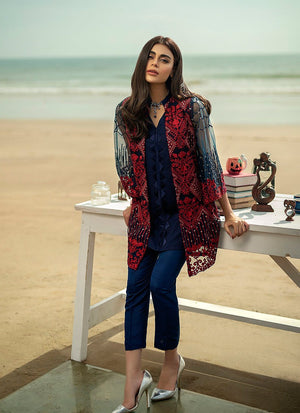 Aruze Blue Net Embroidered Outer With Lawn inner