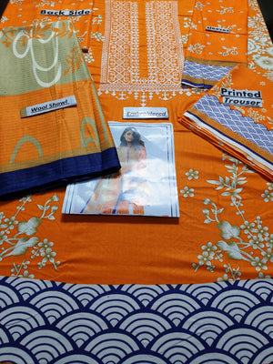 Khaadi Orange Embroidered Three Piece Winter Collection