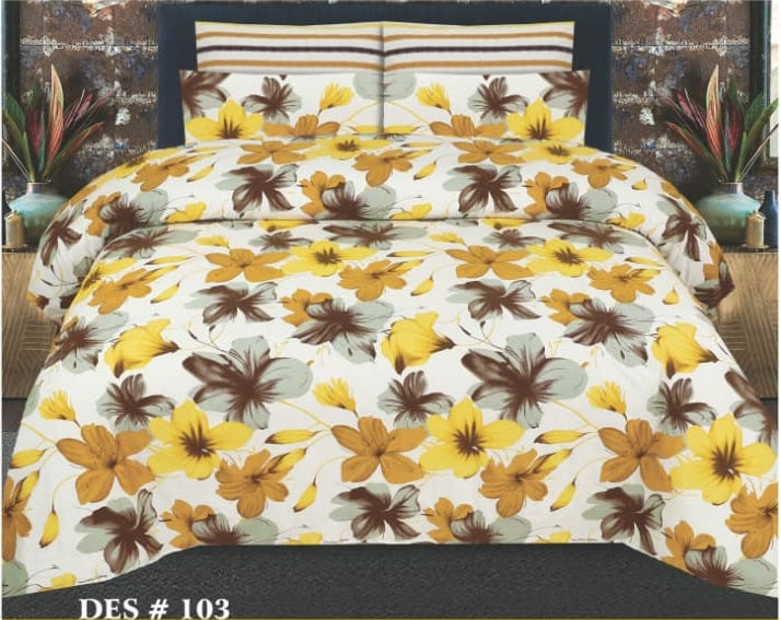 Tana Bana D 103 Pure Cotton King size Bedsheet with 2 pillow Covers