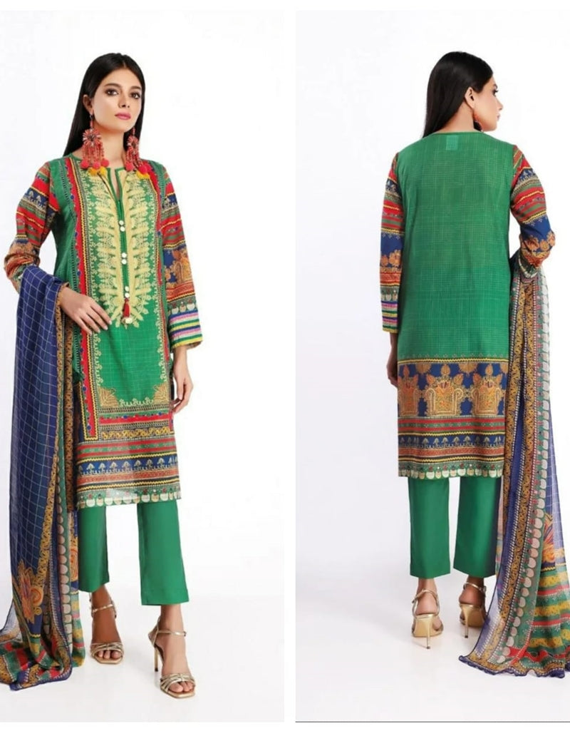 Khaadi K-01 Green Masori Embroidered Three Piece Lawn Collection