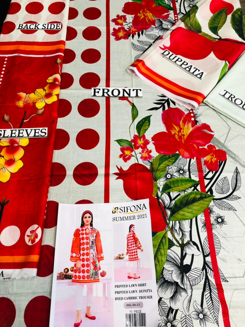 Sifona Design#03 Red Printed Airjet Lawn 3 pc