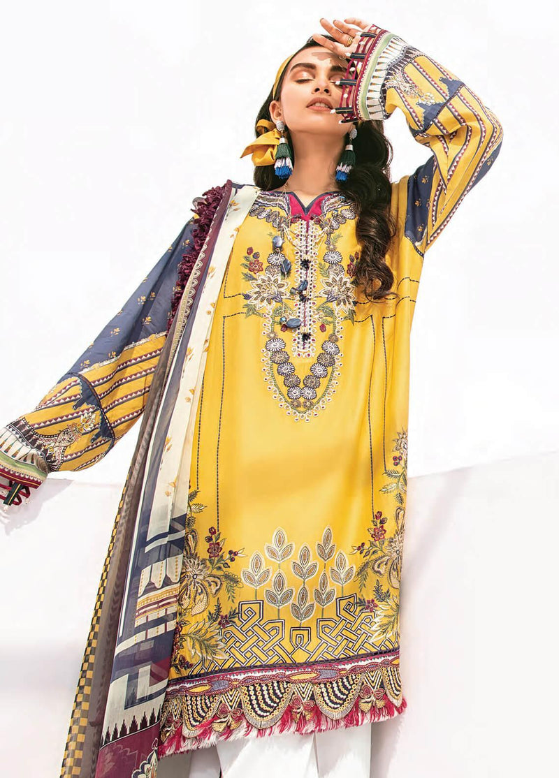 Baroque BQR-7156  Embroidered Three Piece Linen Collection