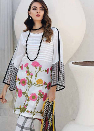 Charizma CH-500 White Embroidered Three Piece Linen Collection
