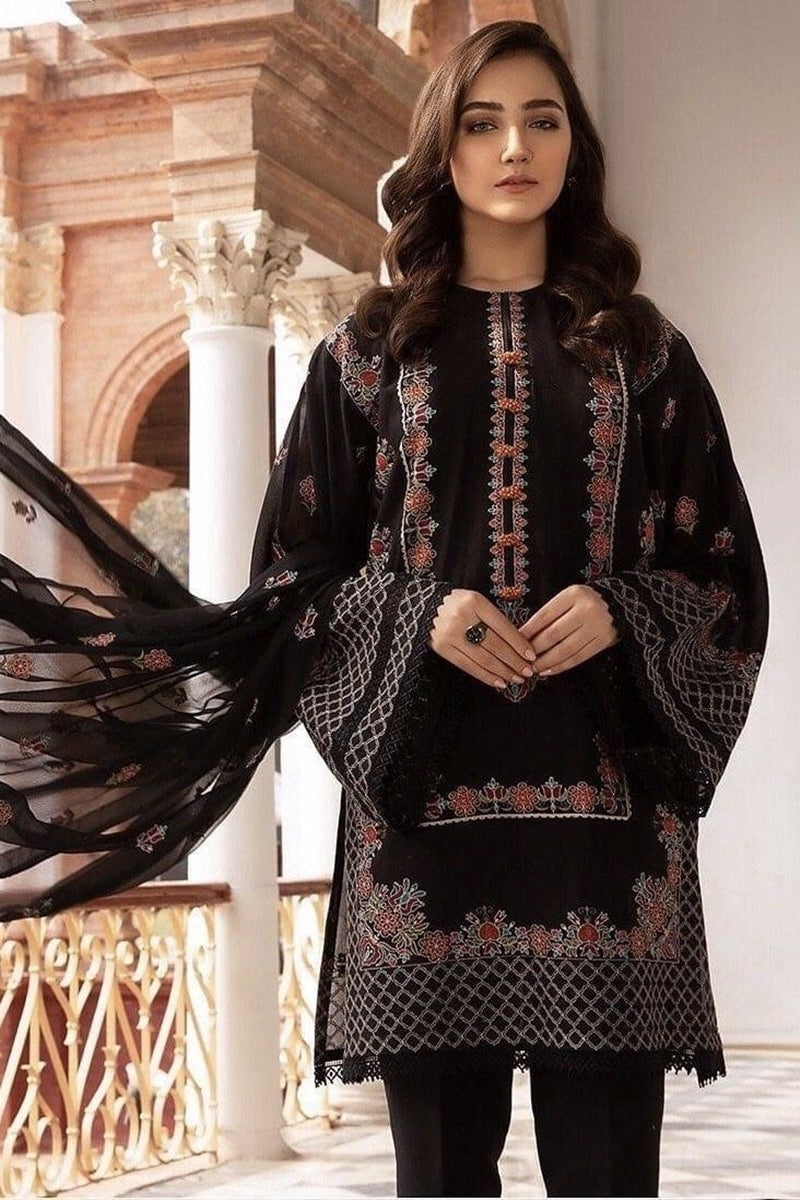 Bareeze BR-5013 Black (Lawn) Embroidered Three Piece Lawn Collection