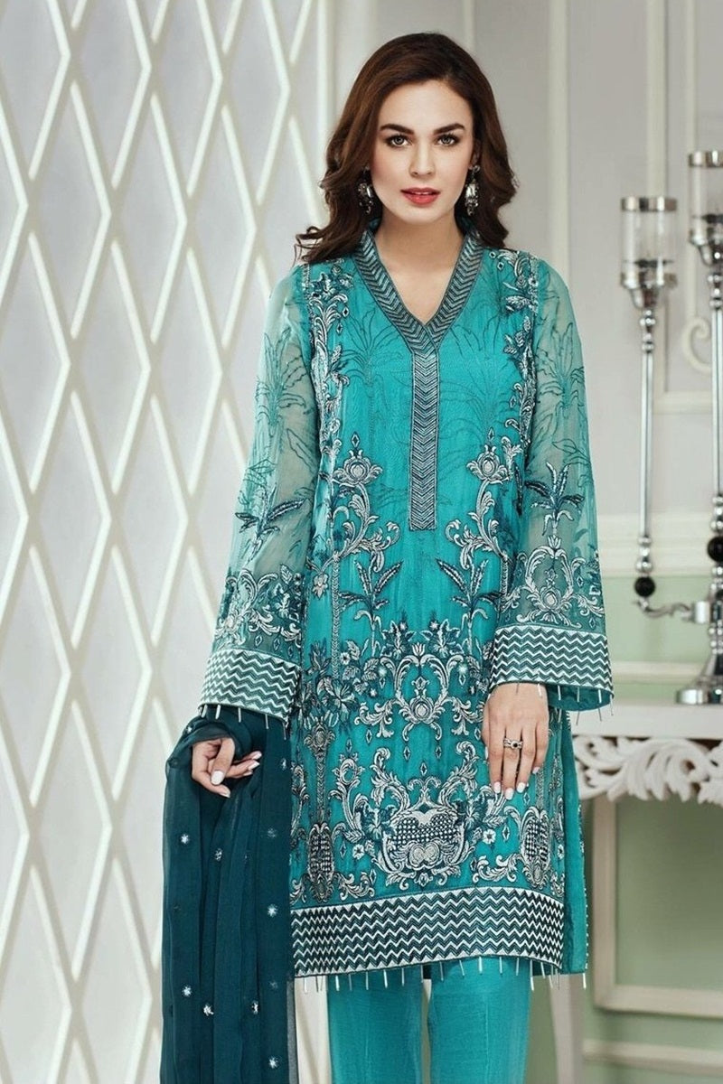 Jazmin JN-489 Unstitched Pure Chiffon Collection Embroidered Two Piece
