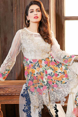 Charizma Dw-09 three Piece Net embroidered shirt Linen Inner with Chiffon Embroidered Duppata