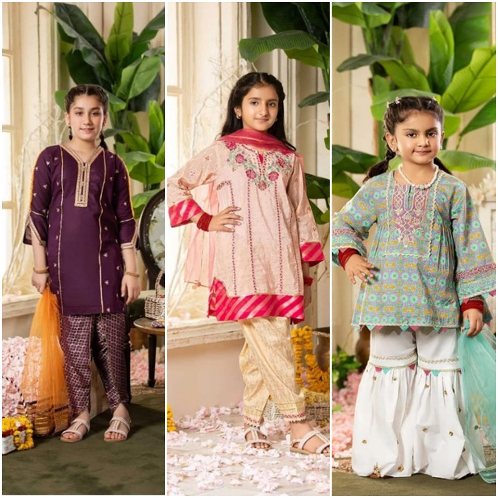 Pack of 3 FCC(1008) Printed+Embroidered kids Wear