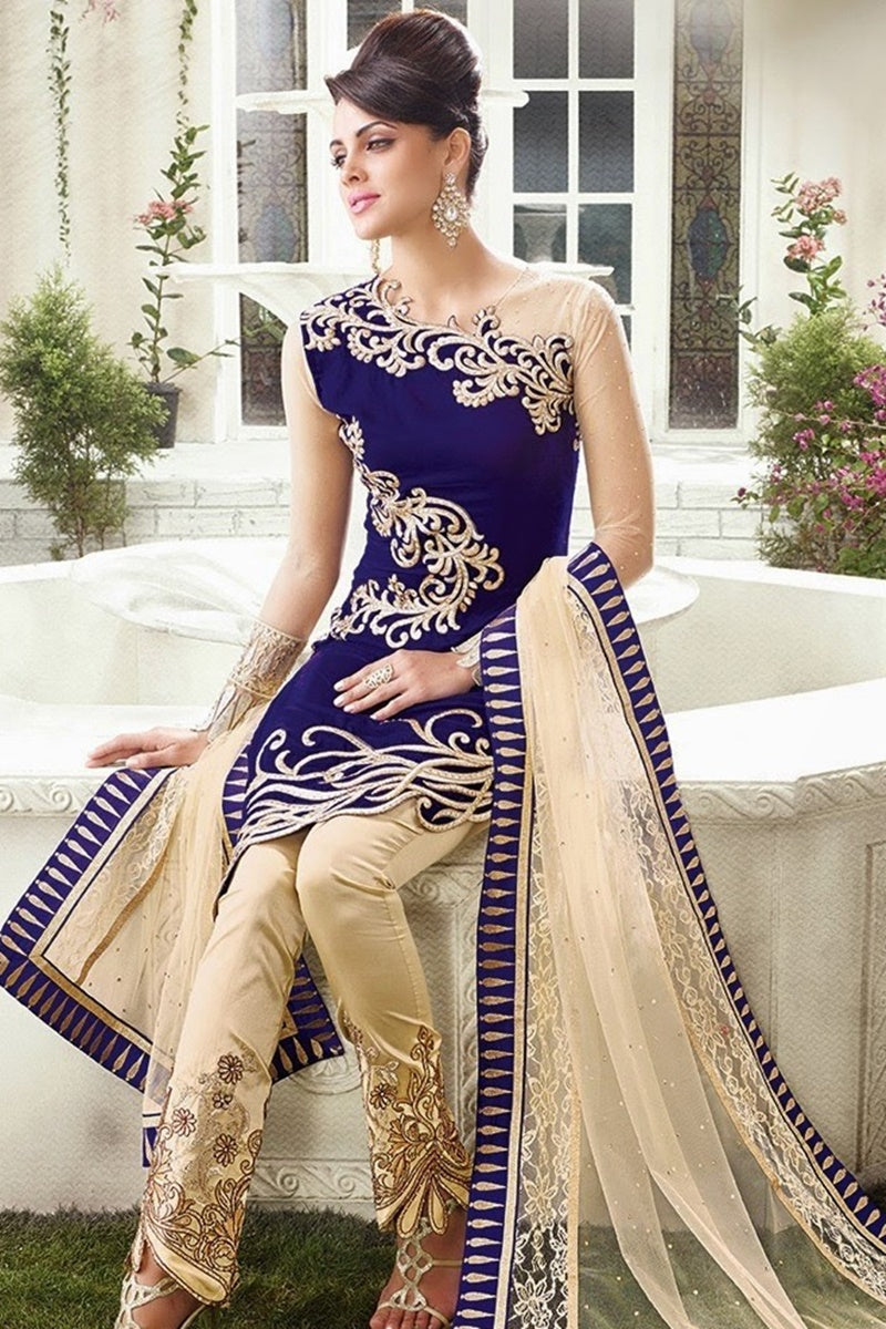 Female choice ZC-5067 Blue Embroidered Velvet Three piece Winter Collection