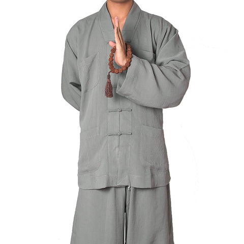 Buddhist Suit &Pants, Cotton Linen,Featured Frog Button Jacket