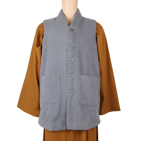 Buddhist winter waist coat grey warm monk meditation top robe