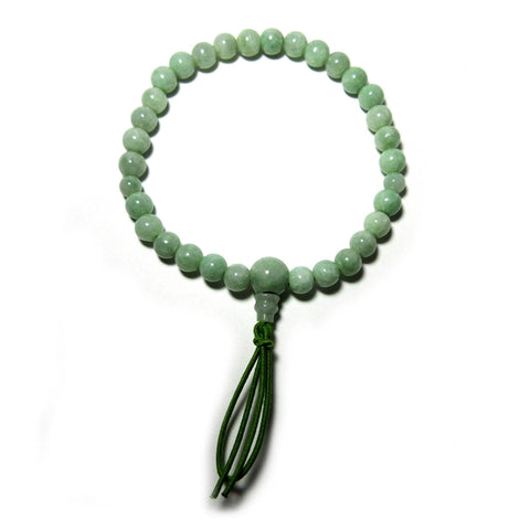 5A grade green jade Buddhist wrist style prayer beads bracelet