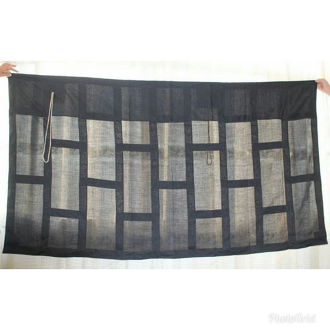 SOTO SHU 9 STRIPE ZEN OKESA, BUDDHA'S ROBE,BLACK LINEN,CUSTOM-MADE,GOOD DIMENSION