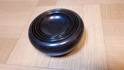 Antique Sotoshu Temple Oryoki 5 Bowls,Japanese Black Lacquered Zen Art