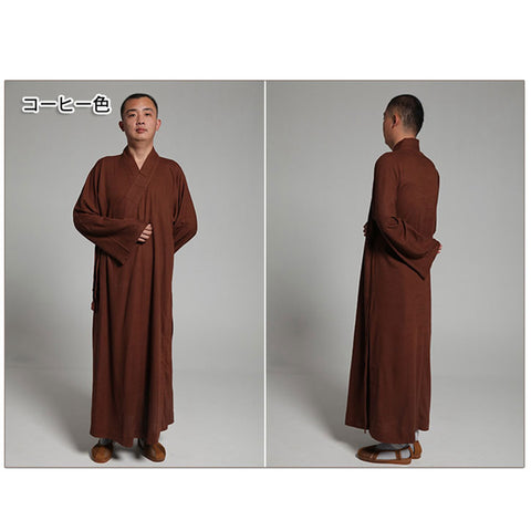 Tradtional Buddhist monk robe,Brown,Cheongsam daily clothing,skillfully tailored