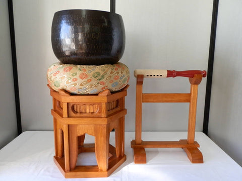 Japanese Buddhist Bell Set Rin Stand Striker Zen Temple Use