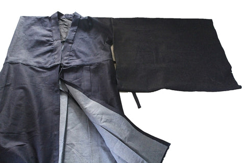 Koromo Jikitotsu Garment Tailored with Indigo Denim Material, Japanese Monk Hoi Custom Robe Order