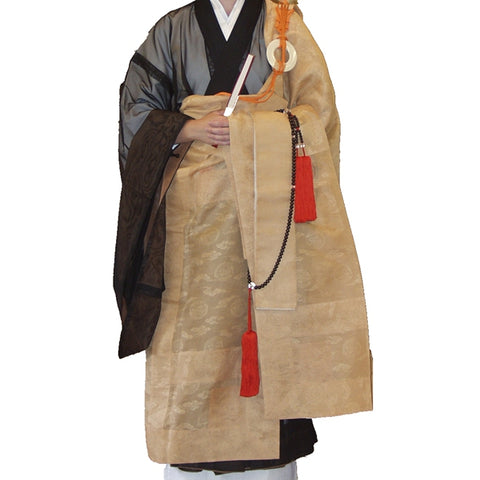 OKESA WITH RING & LONG TASSELS, THE RINZAI BUDDHIST 7 STRIPE, JAPANESE SHIRACHA TAN BROWN COLOR