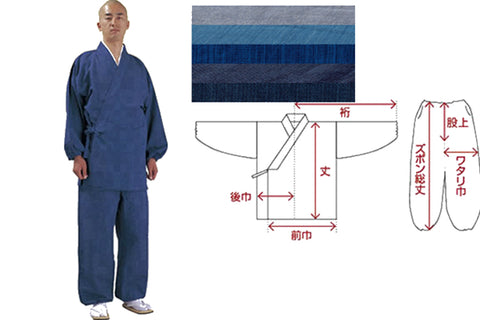 Samue japanese priest dress zen top pants indigo blue color custom order