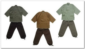 grey brown green samue Japanese ceremony clothing garment