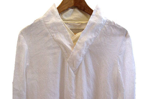 V NECK COLLAR BUDDHIST MONK JACKET,THICK WHITE LINEN,CUSTOMIZE DESIGN AVAILABLE