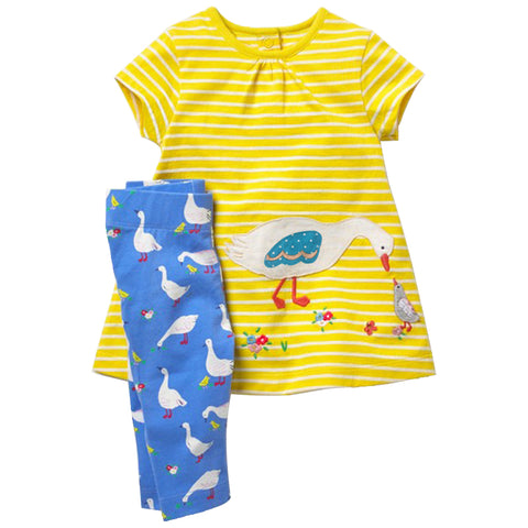 7dc486be2ff3 Summer Toddler Girls Clothing Set Children Clothes Animal Applique Dre –  Paddle   Dabble