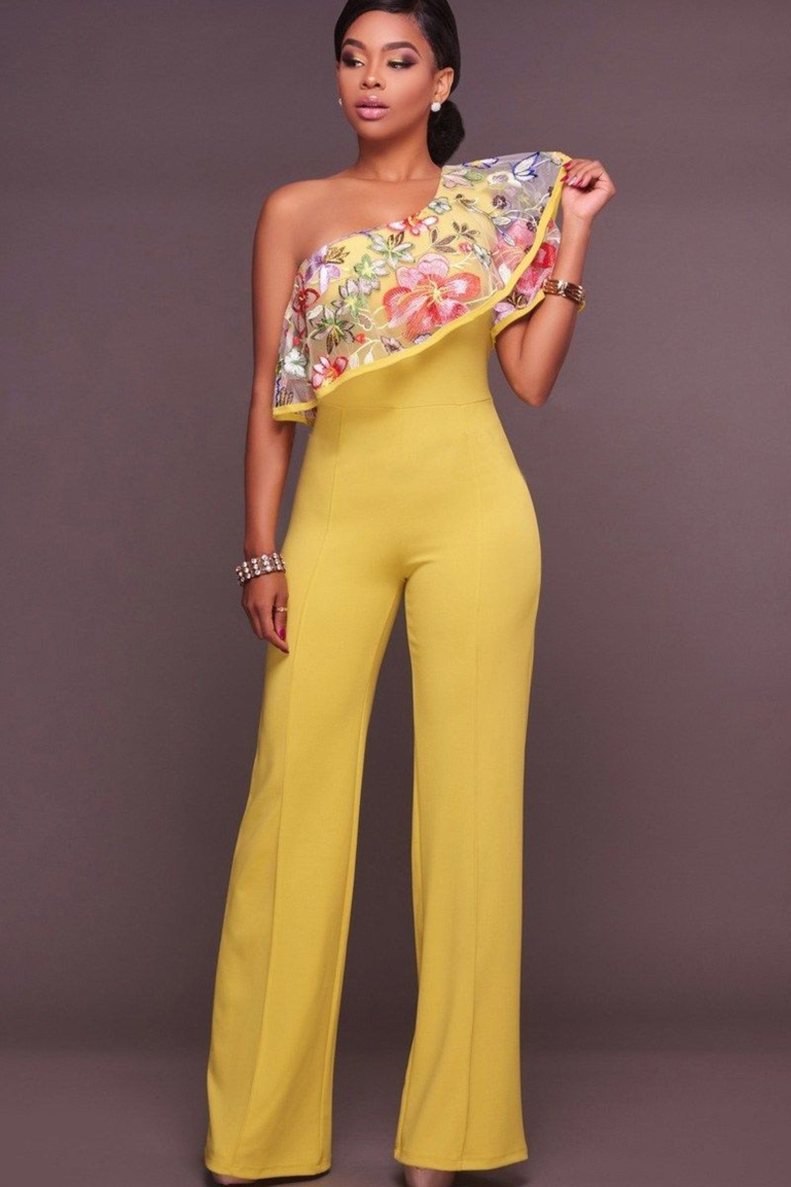 ONE SHOULDER YELLOW JUMPSUIT WITH FLORAL PRINTED ROMPER, Jumpsuit & playsuit, Luna Soul, Luna Soul