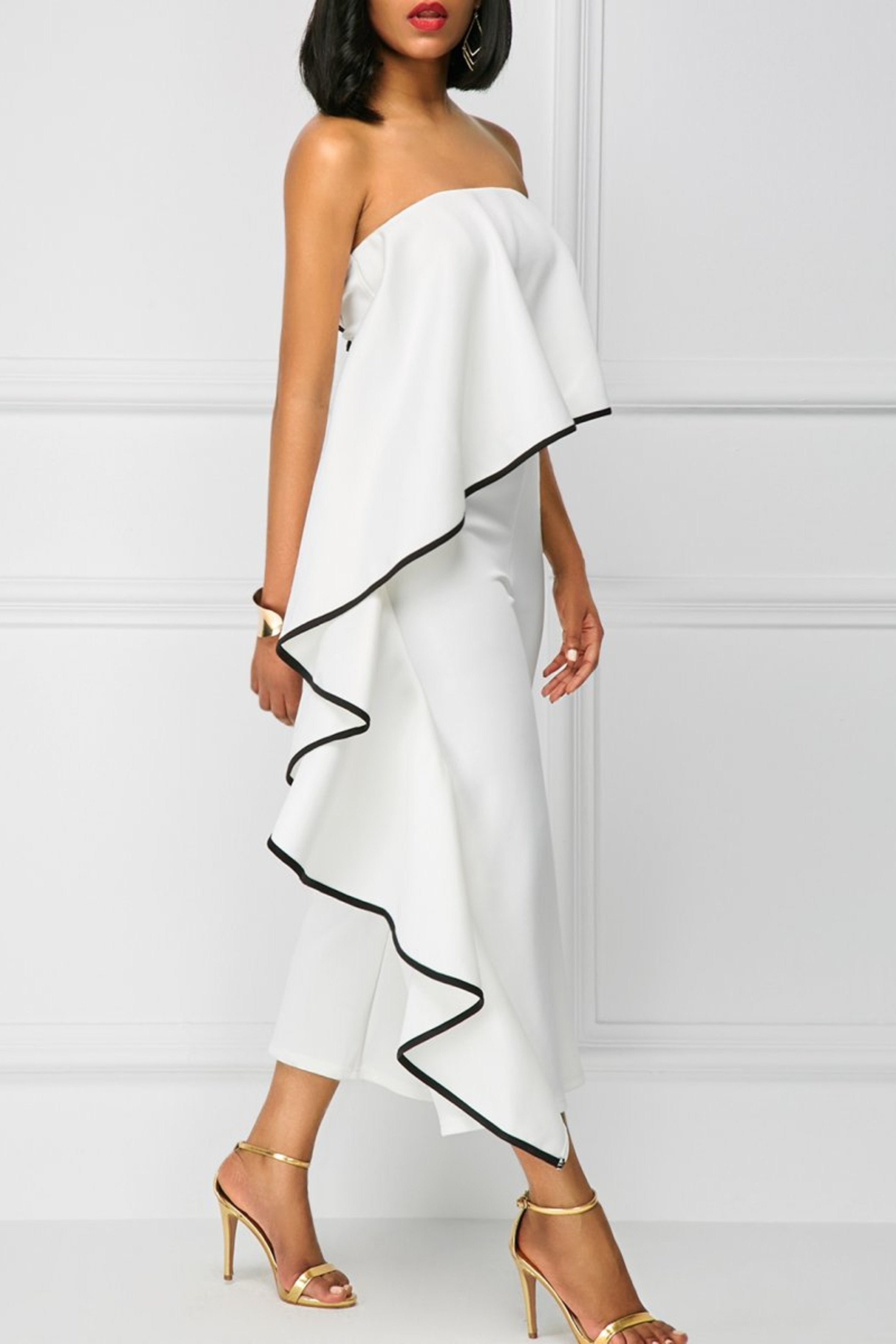 WHITE BANDEAU JUMPSUIT WITH BLACK TRIM, Jumpsuit & playsuit, Luna Soul, Luna Soul