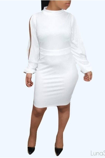 Pure White Cut Out Bodycon Dress, Dresses, Luna Soul, Luna Soul