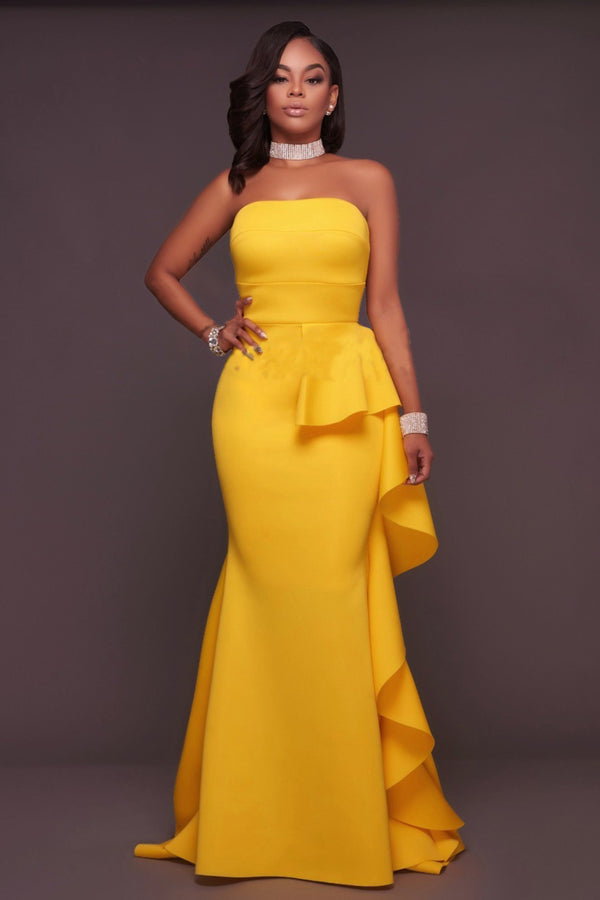 BANDEAU RUFFLE MAXI DRESS - YELLOW | Luna Soul