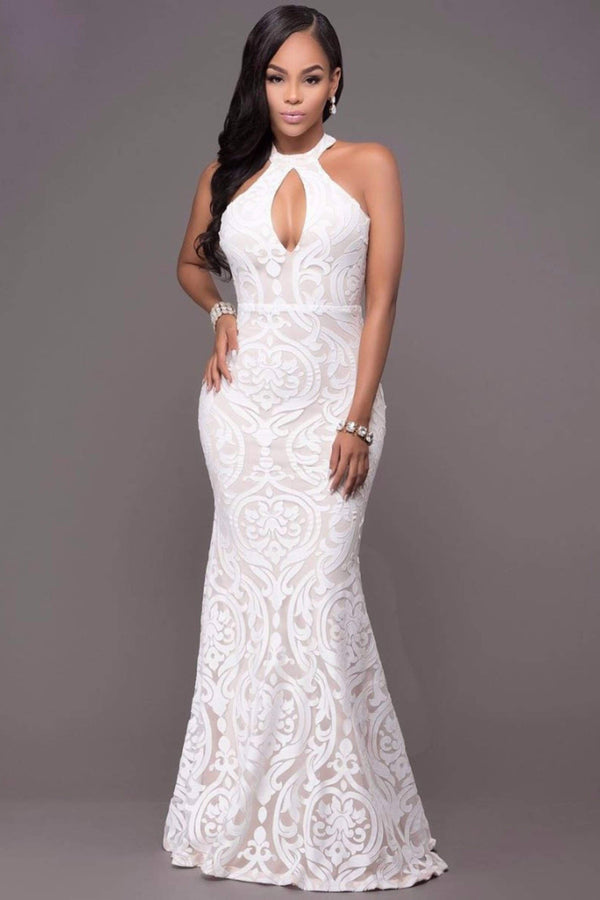 TWIST NECK MERMAID MAXI DRESS - WHITE | Luna Soul