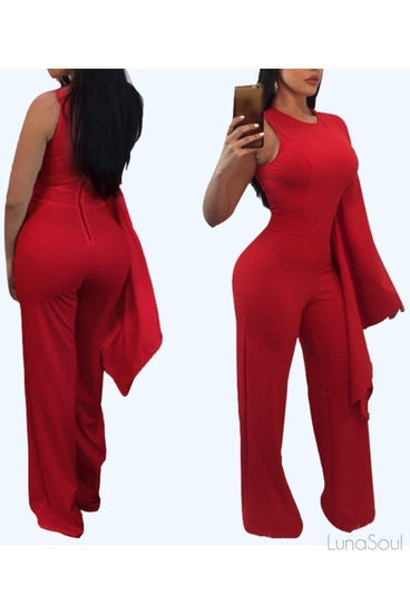 ONE SHOULDER BELL SLEEVE FLARE JUMPSUIT, Jumpsuit & playsuit, Luna Soul, Luna Soul