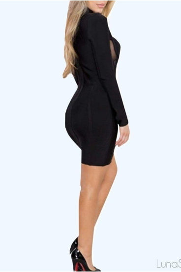CUT OUT BANDAGE DRESS - BLACK | Luna Soul
