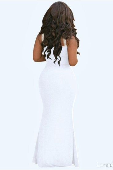 FROSTED IVORY MAXI DRESS - WHITE | Luna Soul